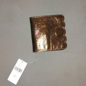 Bronze foil and black Anthropologie wallet nwt
